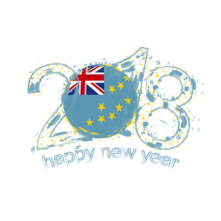 2018 Happy New Year Tuvalu grunge vector template for greeting card, calendars 2018, seasonal flyers, christmas invitations and other. Illustration