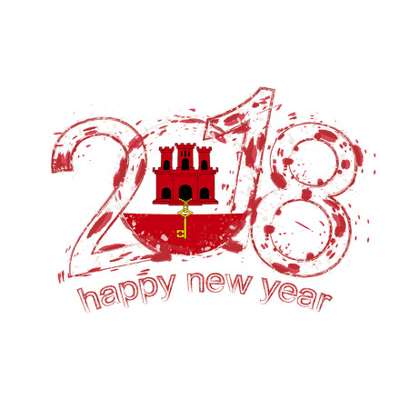 2018 Happy New Year Gibraltar grunge vector template for greeting card, calendars 2018, seasonal flyers, christmas invitations and other.