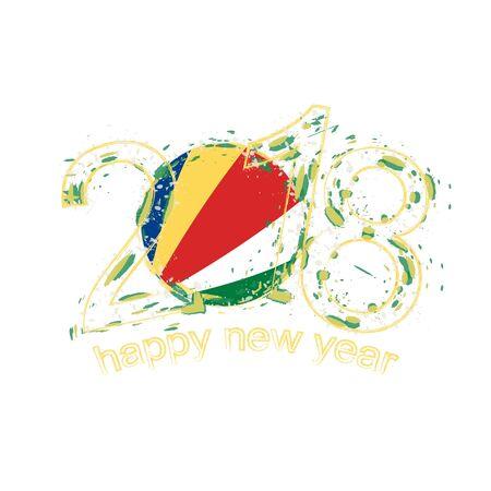 2018 gelukkig Nieuwjaar Seychellen grunge vector sjabloon voor wenskaart, kalenders 2018, seizoensfolders, kerstuitnodigingen en andere. Stock Illustratie