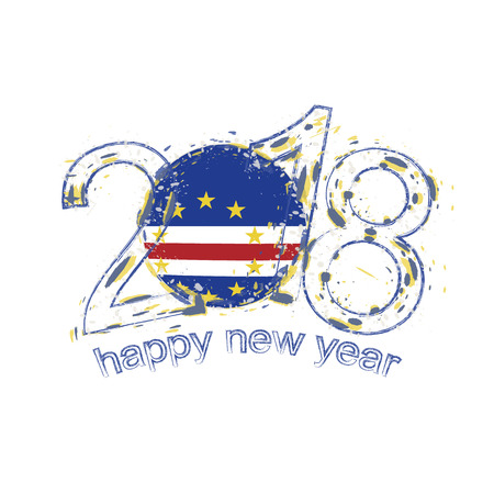 2018 Happy New Year Cape Verde grunge vector template for greeting card, calendars 2018, seasonal flyers, christmas invitations and other.