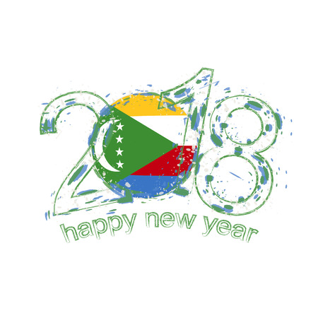 2018 Happy New Year Comoros grunge vector template for greeting card, calendars 2018, seasonal flyers, christmas invitations and other. Illustration