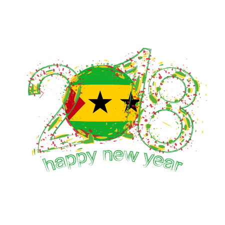 2018 Happy New Year Sao Tome and Principe grunge vector template for greeting card, calendars 2018, seasonal flyers, christmas invitations and other. Illustration