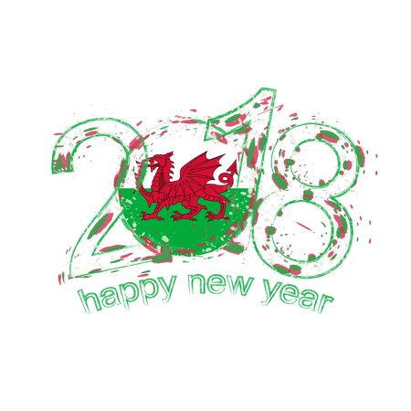 2018 Happy New Year Wales grunge vector template for greeting card, calendars 2018, seasonal flyers, christmas invitations and other.