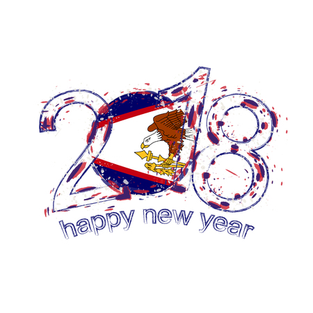 2018 Happy New Year American Samoa grunge vector template for greeting card, calendars 2018, seasonal flyers, christmas invitations and other. Illustration