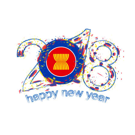 2018 Happy New Year ASEAN grunge vector template for greeting card, calendars 2018, seasonal flyers, christmas invitations and other. Illustration