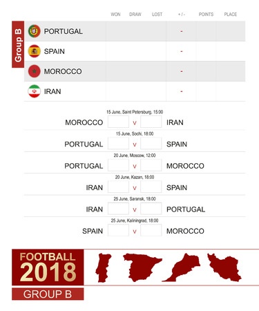 Football 2018, Group B match schedule, all matches, time and place. Portugal, Spain, Morocco, Iran.