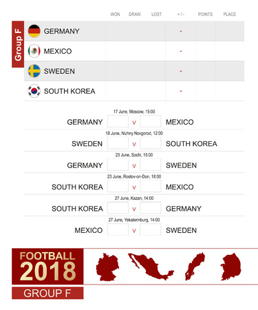 Football 2018, Group F match schedule design template. Ilustração