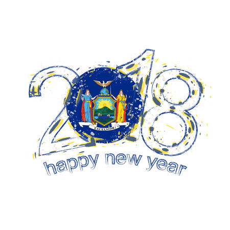 2018 Happy New Year New York US State Illustration