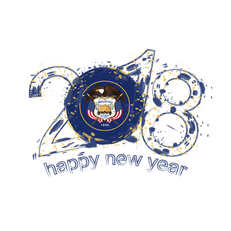 2018 Happy New Year Utah US State  grunge vector template for greeting card, calendars 2018, seasonal flyers, christmas invitations and other.