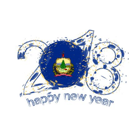 2018 Happy New Year Vermont US State Illustration