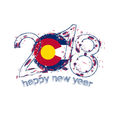 2018 Happy New Year Colorado US State  grunge vector template for greeting card, calendars 2018, seasonal flyers, christmas invitations and other. Illustration