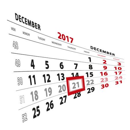 21 December highlighted on calendar 2017. Week starts from Monday. Vector Illustration.