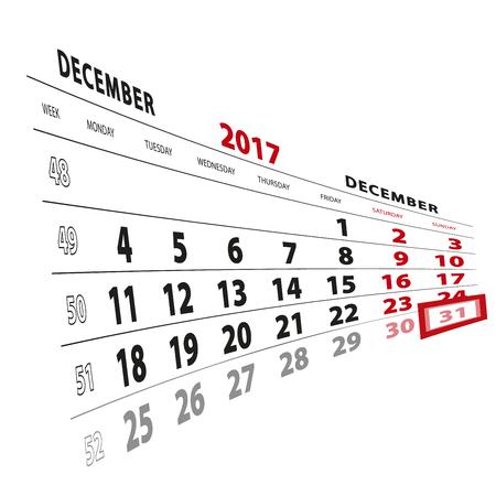 31 December highlighted on calendar 2017. Week starts from Monday. Vector Illustration. Illustration