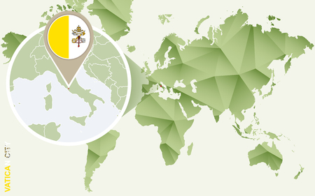 Infographic for Vatican City, detailed map of Vatican with flag. Vector Info graphic green map.
