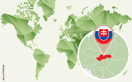 Infographic for Slovakia, detailed map of Slovakia with flag. Vector Info graphic green map.