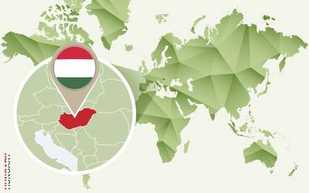 Infographic for Hungary, detailed map of Hungary with flag. Vector Info graphic green map.