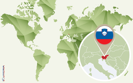 Infographic for Slovenia, detailed map of Slovenia with flag. Vector Info graphic green map.