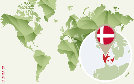 Infographic for Denmark, detailed map of Denmark with flag. Vector Info graphic green map.