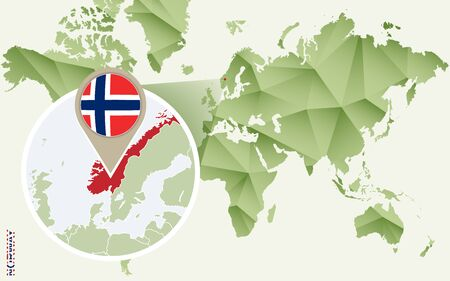 Infographic for Norway, detailed map of Norway with flag. Vector Info graphic green map. Ilustração