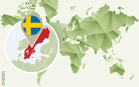 Infographic for Sweden, detailed map of Sweden with flag. Vector Info graphic green map.