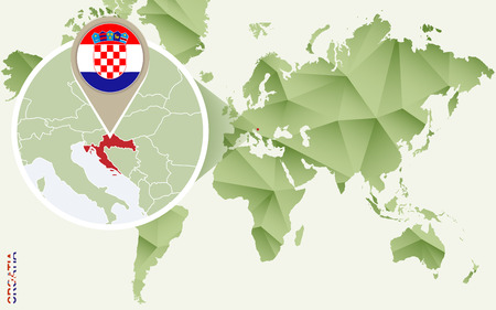 Infographic for Croatia, detailed map of Croatia with flag. Vector Info graphic green map. Illustration