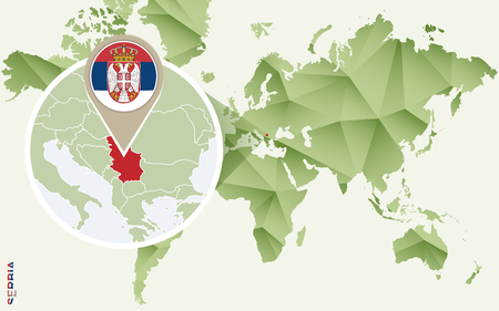 Infographic for Serbia, detailed map of Serbia with flag. Vector Info graphic green map.