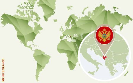Infographic for Montenegro, detailed map of Montenegro with flag. Vector Info graphic green map.