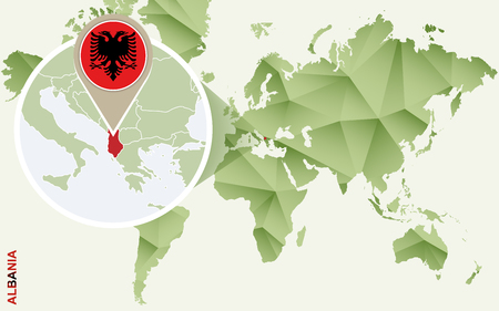 Infographic for Albania, detailed map of Albania with flag. Vector Info graphic green map.