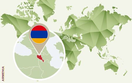 Infographic for Armenia, detailed map of Armenia with flag. Vector Info graphic green map.