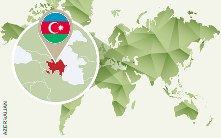 Infographic for Azerbaijan, detailed map of Azerbaijan with flag. Vector Info graphic green map. Illustration