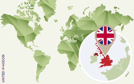 Infographic for United Kingdom, detailed map of UK with flag. Vector Info graphic green map. Illustration