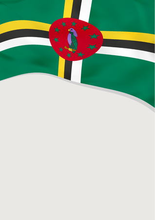 Leaflet design with flag of Dominica. Vector template.