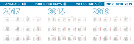 Simple calendar template in Hebrew for 2017, 2018, 2019 years. Week starts from Monday. Illustration