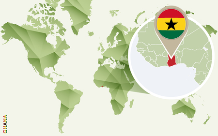Infographic for Ghana, detailed map of Ghana with flag. Vector infographic green map.