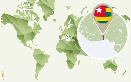Infographic for Togo, detailed map of Togo with flag. Vector infographic green map.