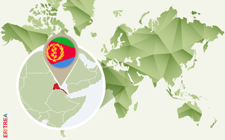 Infographic for Eritrea, detailed map of Eritrea with flag. Vector infographic green map.