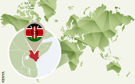 Infographic for Kenya, detailed map of Kenya with flag. Vector Infographic green map.