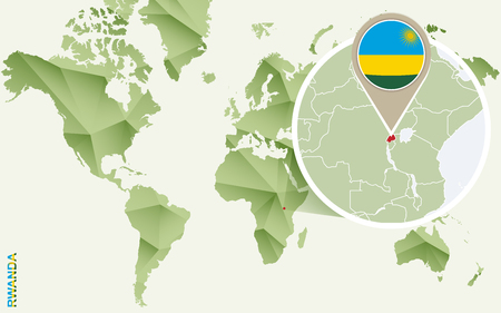 Infographic for Rwanda, detailed map of Rwanda with flag. Vector Infographic green map. Иллюстрация