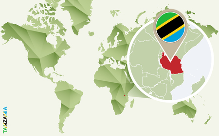 Infographic for Tanzania, detailed map of Tanzania with flag. Vector Infographic green map. Иллюстрация