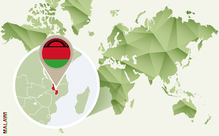 Infographic for Malawi, detailed map of Malawi with flag. Vector Infographic green map. Illustration