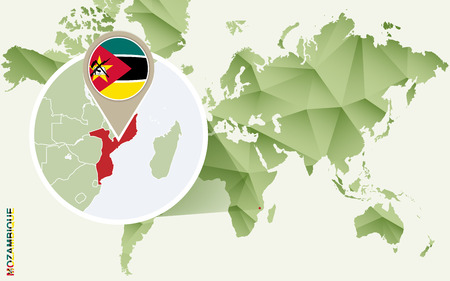 Infographic for Mozambique, detailed map of Mozambique with flag. Vector Infographic green map.