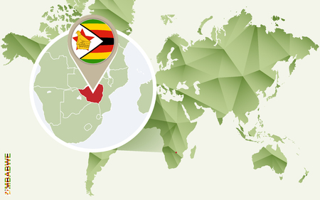 Infographic for Zimbabwe, detailed map of Zimbabwe with flag. Vector Infographic green map. Иллюстрация