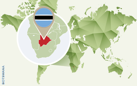Infographic for Botswana, detailed map of Botswana with flag. Vector Infographic green map.