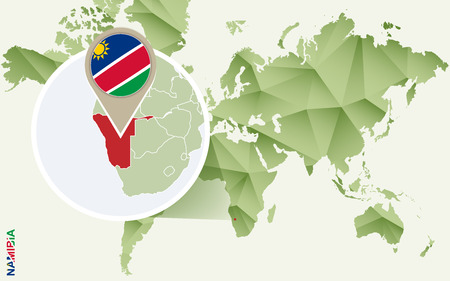 Infographic for Namibia, detailed map of Namibia with flag. Vector Infographic green map. Иллюстрация
