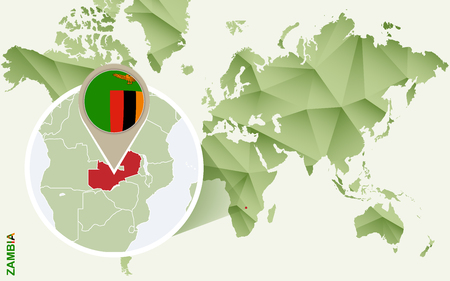 Infographic for Zambia, detailed map of Zambia with flag. Vector Infographic green map. Illustration