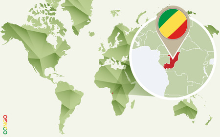 Infographic for Congo, detailed map of Congo with flag. Vector Info graphic green map.