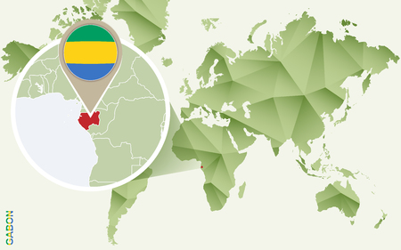 Infographic for Gabon, detailed map of Gabon with flag. Vector Infographic green map.