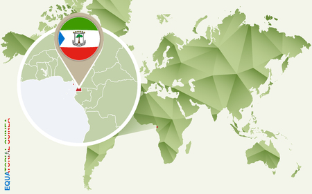 Infographic for Equatorial Guinea, detailed map of Equatorial Guinea with flag. Vector Infographic green map. Illustration