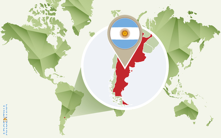 Infographic for Argentina, detailed map of Argentina with flag. Vector Info graphic green map.