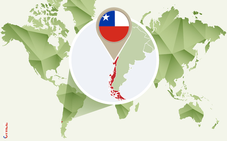 Infographic for Chile, detailed map of Chile with flag. Vector Info graphic green map.